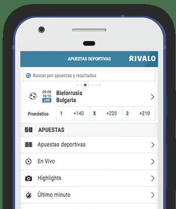 Captura pantalla móvil Rivalo en Colombia