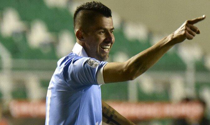 Arce celebra gol con Bolívar