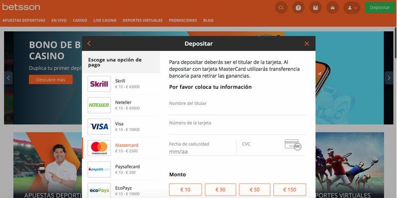 Proceso de depósito con Mastercard