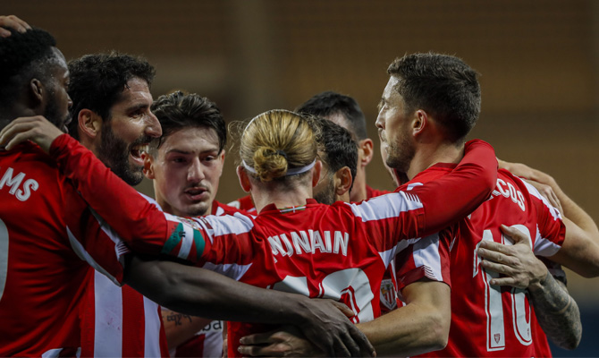 Los Leones celebran uno de los goles que los han llevado a disputar el Athletic Club vs Levante de las semifinales de la Copa