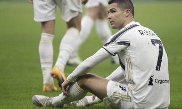 Cristiano Ronaldo sobre el césped en la imagen. Cuotas Juventus vs Inter